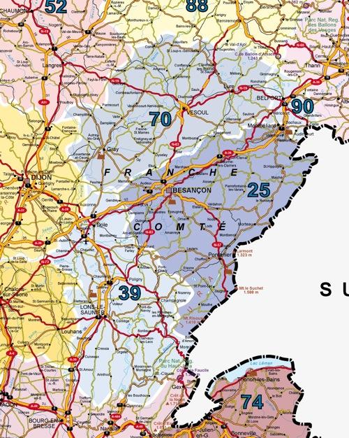 Carte Routière Franche Comté | tonaartsenfotografie